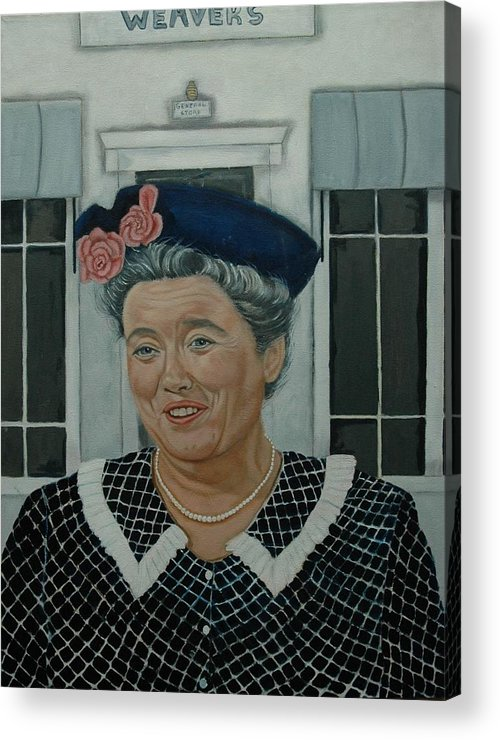 Aunt Acrylic Print featuring the painting Beatrice Taylor As Aunt Bee by Tresa Crain
