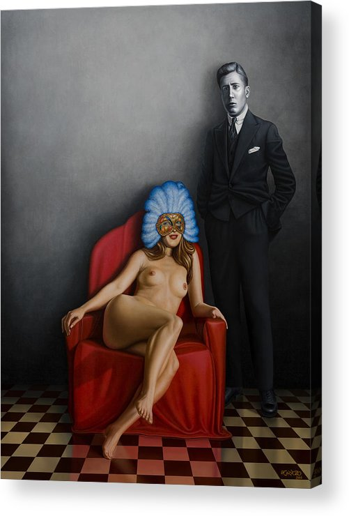Nude Acrylic Print featuring the painting Beauty Of The Carnival by Horacio Cardozo