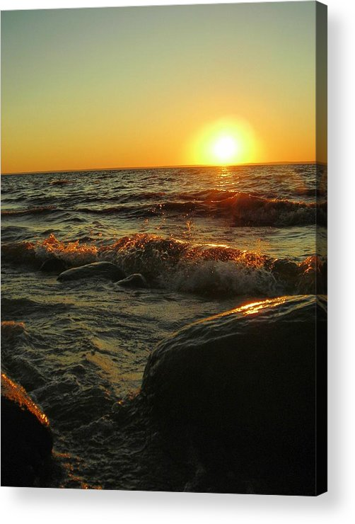 Sunset Acrylic Print featuring the photograph Between A Rock And A Sunny Place by Peter Mowry