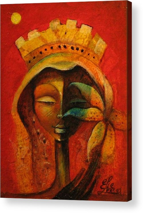 Haitian Art Acrylic Print featuring the painting Black Flower Queen by Elie Lescot