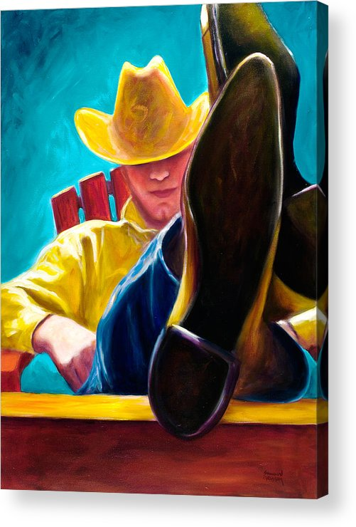Western Acrylic Print featuring the painting Break Time by Shannon Grissom