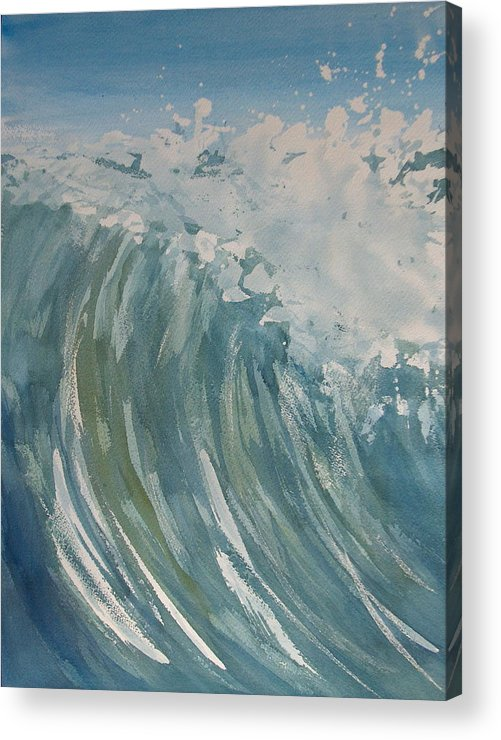 Ocean Acrylic Print featuring the painting Breaker by Pete Maier