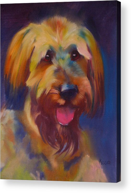 Briard Puppy Acrylic Print featuring the painting Briard Puppy by Kaytee Esser