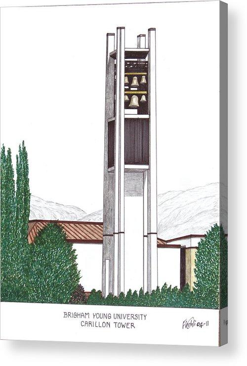 Brigham Young University Drawings Acrylic Print featuring the drawing Brigham Young University by Frederic Kohli