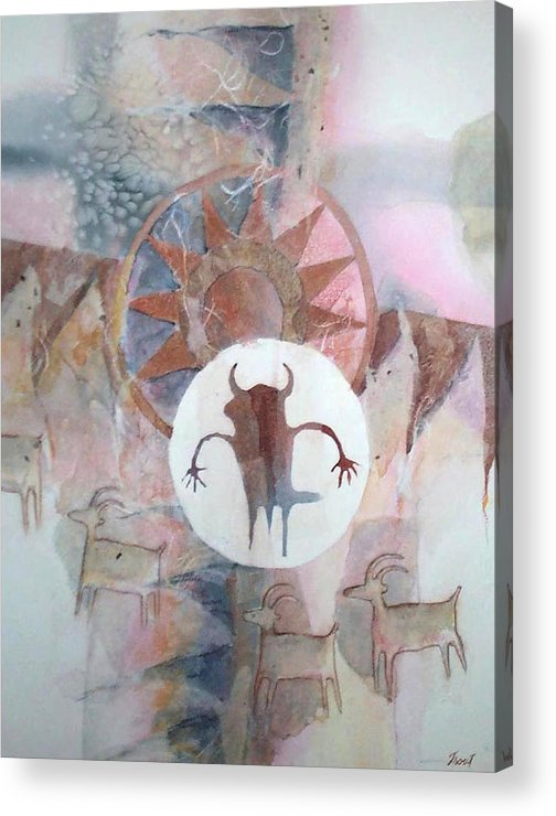 Indian Pictograph Acrylic Print featuring the painting Buffalo Dancer by Don Trout