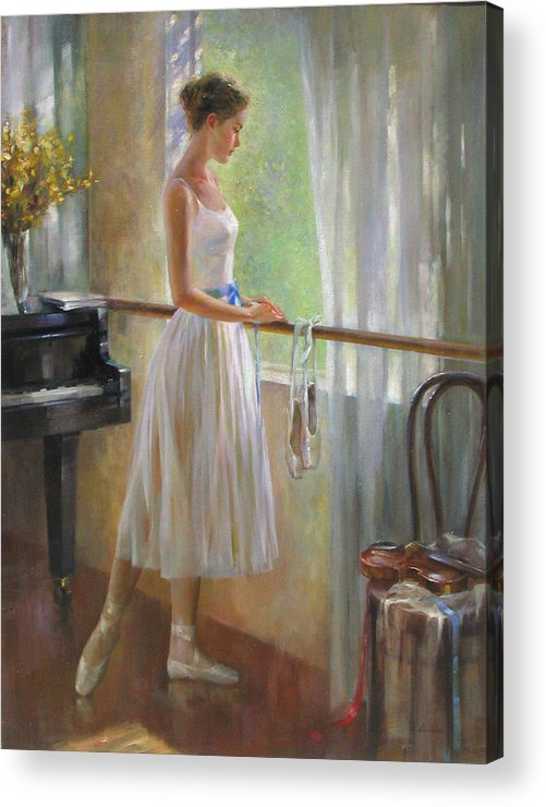 Figurative Painting Acrylic Print featuring the painting By The Window by Kelvin Lei