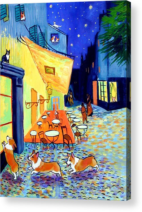 Pembroke Welsh Corgi Acrylic Print featuring the painting Cafe Terrace At Night - After Van Gogh With Corgis by Lyn Cook