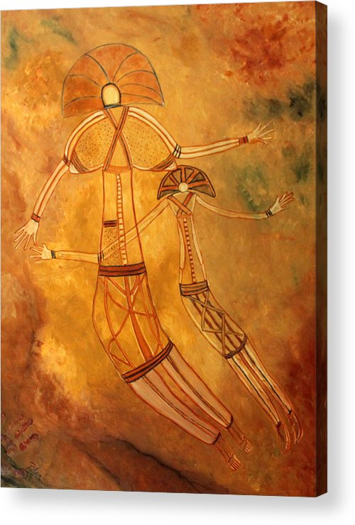 Cave Painting Acrylic Print featuring the painting Cave Love by Pilar Martinez-Byrne