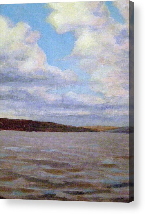 Landscape Acrylic Print featuring the painting Cayuga Lake by Evelynn Eighmey