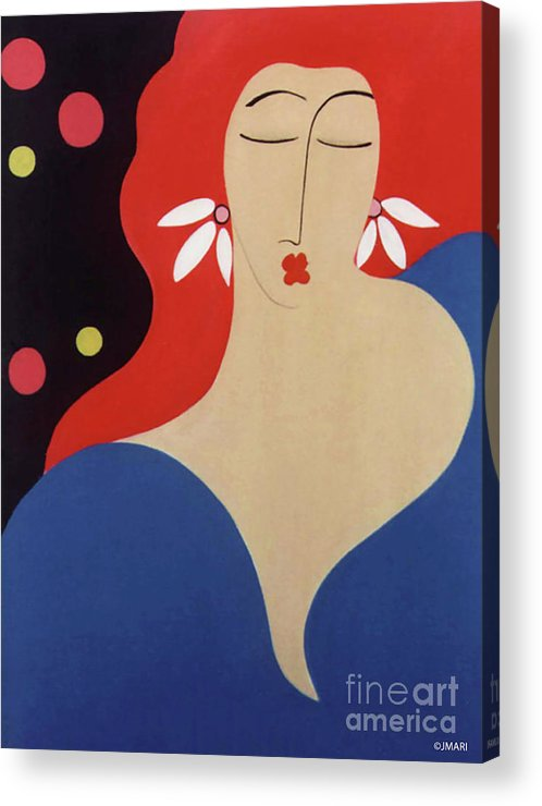 #female Acrylic Print featuring the painting Cha Cha by Jacquelinemari