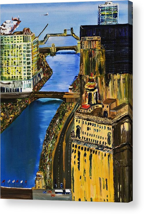 Chicago Skyline Acrylic Print featuring the painting Chicago River Skyline by Gregory Allen Page