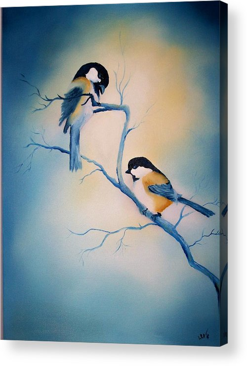 Birds Acrylic Print featuring the painting Chickadees by Leo Gordon