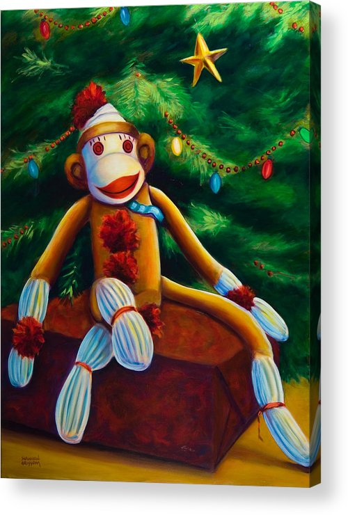 Sock Monkey Acrylic Print featuring the painting Christmas Made Of Sockies by Shannon Grissom