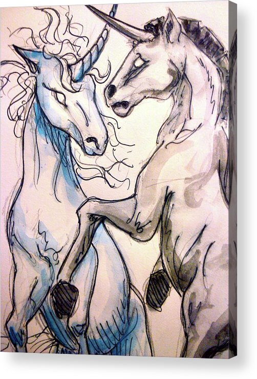 Unicorn Acrylic Print featuring the drawing Clash by Jennifer Zhao