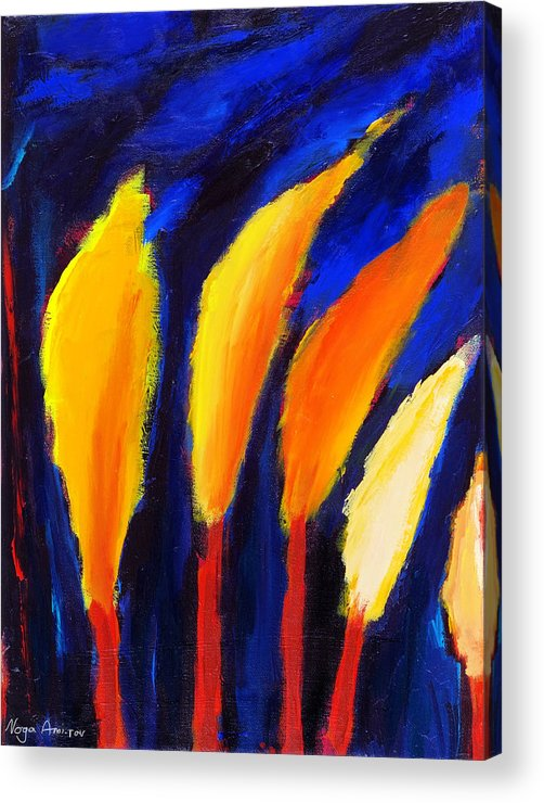 Cypress Acrylic Print featuring the painting Colorful Night by Noga Ami-rav