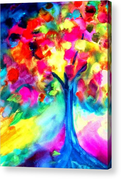 Landscape Acrylic Print featuring the painting Colorful Tree by Maritza Bermudez