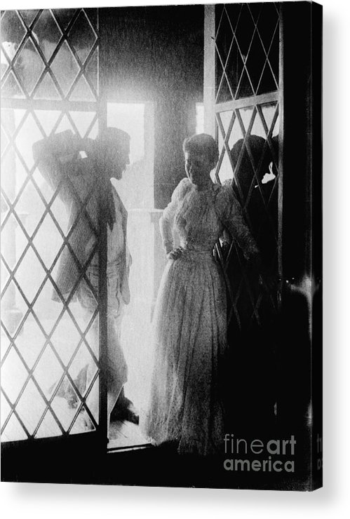 19th Century Acrylic Print featuring the photograph Couple In Doorway by Granger