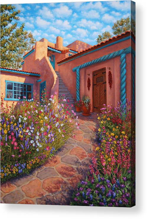 Southwest Acrylic Print featuring the painting Courtyard Garden In Taos by Johanna Girard
