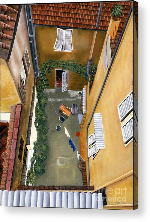 Court Yard Acrylic Print featuring the painting Courtyard In Milan by Jiji Lee