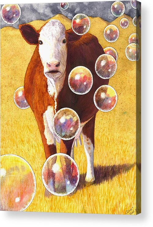 Cow Acrylic Print featuring the painting Cow Bubbles by Catherine G McElroy