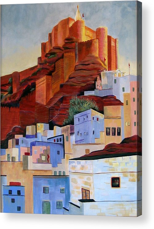 Landscape Acrylic Print featuring the painting Dawn At The Fort In Jodhpur by Art Nomad Sandra Hansen