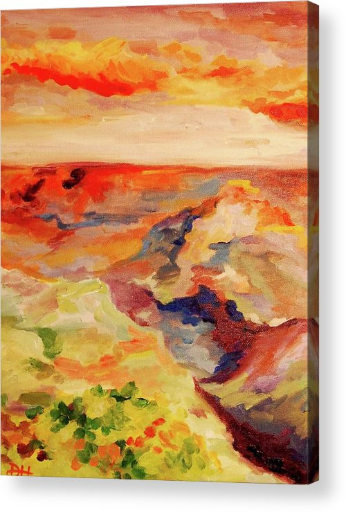 Desert Acrylic Print featuring the painting Desert Valley At Sunset by Danielle Hacker