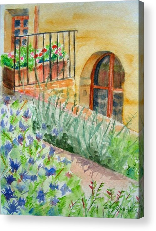 Flowers Surrounding Apartment On Vineyard Acrylic Print featuring the painting Dievole Vineyard by Judy Swerlick