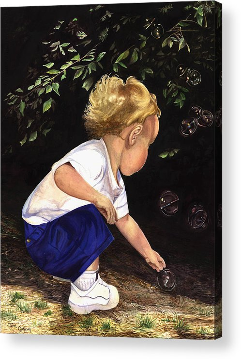 Portrait Acrylic Print featuring the painting Discovering Bubbles by Terri Meyer