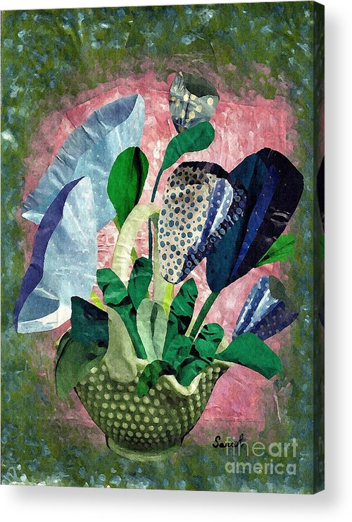 Floral Acrylic Print featuring the mixed media Dot Bouquet by Sarah Loft
