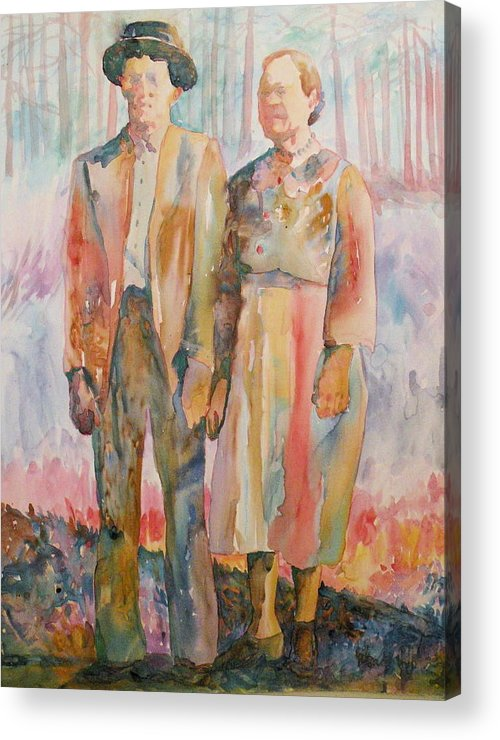 People Acrylic Print featuring the painting Edda's Folks by Wendy Hill