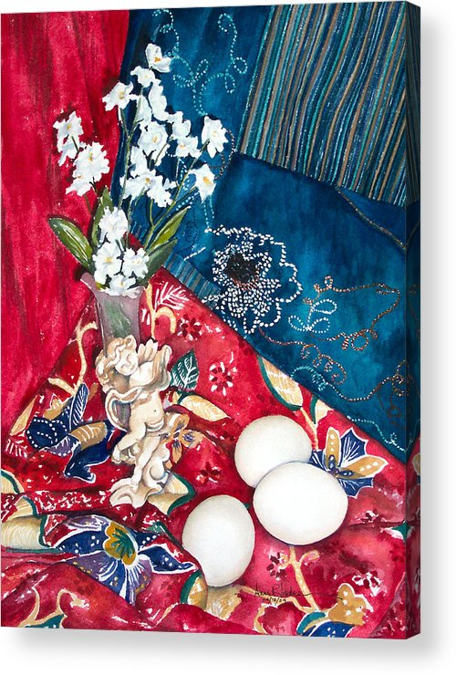 Eggs Acrylic Print featuring the painting Eggs In Bright Setting by Anne Rhodes