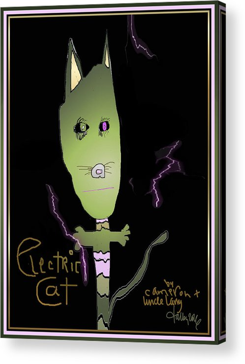 Acrylic Print featuring the digital art Electric Cat by Larry Talley