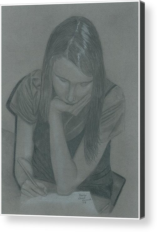 Charcoal Acrylic Print featuring the drawing Emily by Rhonda Rodericks