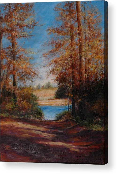 Landscape Acrylic Print featuring the painting End Of The Road View by Deb Spinella
