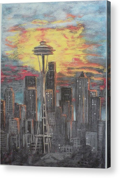 Sunset Cloudy Sky Acrylic Print featuring the painting Eye On The Needle by Dan Bozich