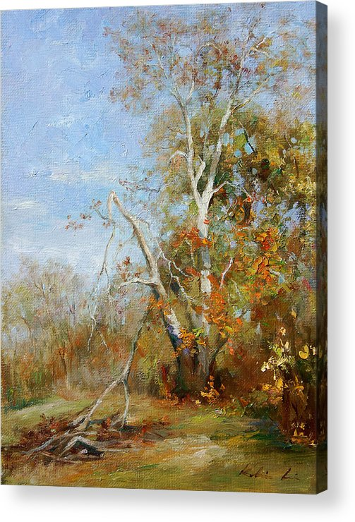 Landscape Acrylic Print featuring the painting Falling Branch by Kelvin Lei