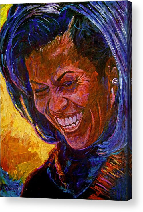 Michele Obama Artwork Acrylic Print featuring the painting First Lady Michele Obama by David Lloyd Glover