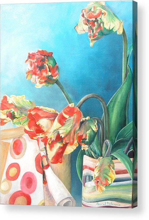 Still Life Acrylic Print featuring the painting Foulard by Muriel Dolemieux