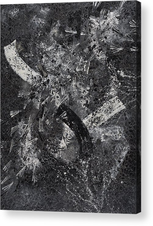 Abstract Acrylic Print featuring the painting Garanti Tout Cuir by Dominique Boutaud