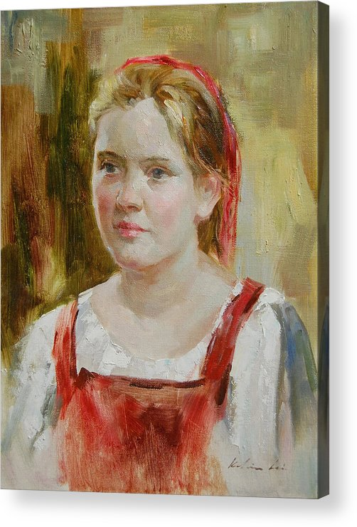 Portrait Acrylic Print featuring the painting Girl In Red by Kelvin Lei