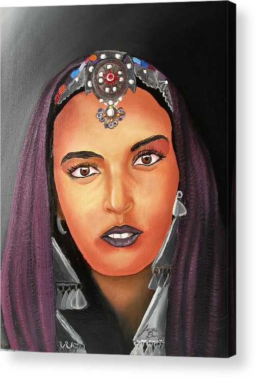 This One Is An Original Work Of Art! It Would Be A Great Buy For The Morocco Lover!!!!!! Acrylic Print featuring the painting Girl Of Morocco by Portland Art Creations