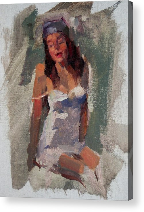 Figurative Acrylic Print featuring the painting Glam Girl by Merle Keller
