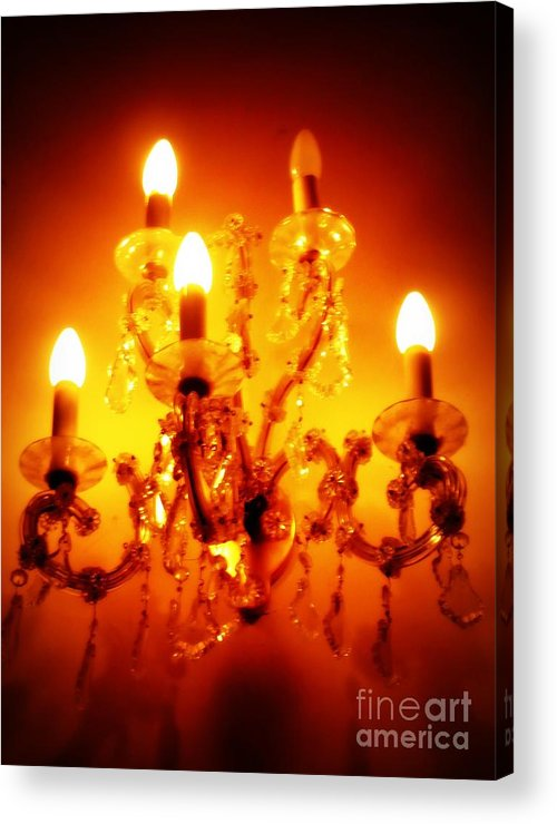 Dining Room Decor Acrylic Print featuring the photograph Glowing Chandelier--companion Piece by Carol Groenen