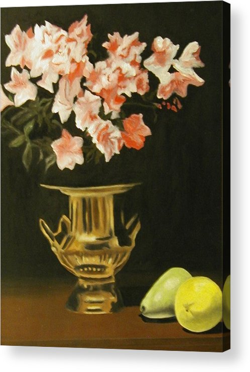 Still Life Acrylic Print featuring the painting Gold Vase With Fruit by Angelo Thomas