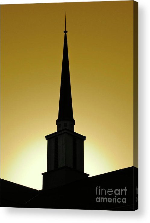 Cml Brown Acrylic Print featuring the photograph Golden Sky Steeple by CML Brown