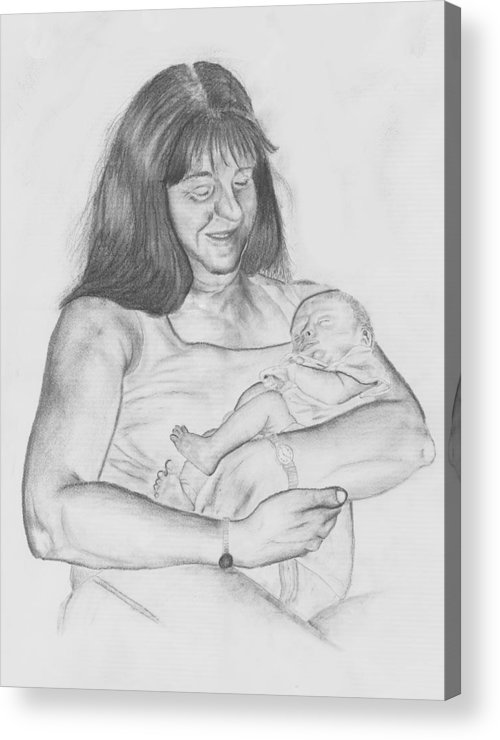 Drawing Acrylic Print featuring the drawing Grandma And Grandchild by Russ Smith