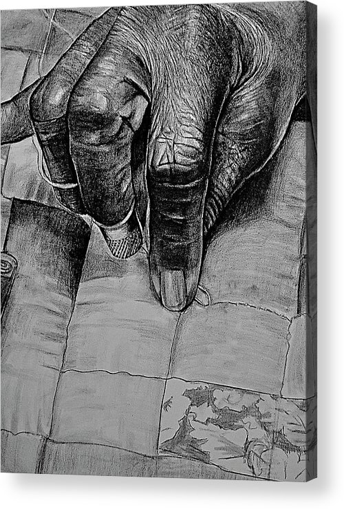 Hands Acrylic Print featuring the drawing Grandma's Hands by Curtis James