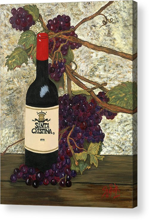Still Life Acrylic Print featuring the painting Grapes And Wine by SheRok Williams