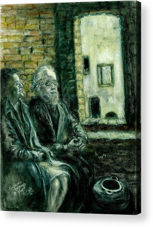 Portrait Of Elderly Couple Acrylic Print featuring the painting Half Full Or Half Empty by Suzanne Reynolds