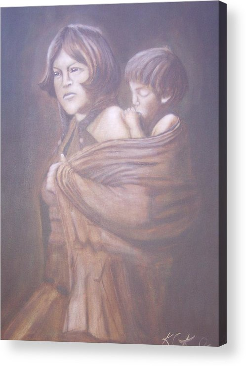 Indians Acrylic Print featuring the painting Hopi Mother by KC Knight